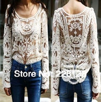 xxl sexy - Women s Blouse Black white Dress Sweet Semi Sexy Sheer Long Sleeve Embroidery Floral Lace Crochet Tee Top T shirt Vintage XXL