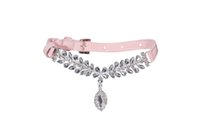 Wholesale Rhinestone Diamond Velvet Pet Puppy Dog Cat Collars Necklace Chains Colors assorted