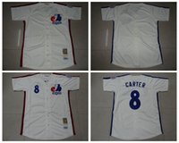 football jersey blank - Cheap Men Montreal Expos Carter Baseball Jerseys Blank Cream Throwback Embroidery Name Logo MLB Football Jersey M XXXL