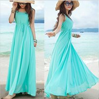 Wholesale Fashion New Summer Elegant Bohemia Style Crew Neck Sleeveless Chiffon Beach Maxi Dress M L Light Blue Drop Shipping