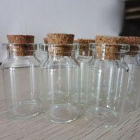 Cheap 100X Clear Glass Wishing Bottle Vials With Cork Empty Glass Wishing Bottle 55*22*18mm Drop Shipping Cute Mini Cork Stopper Glass Bottles