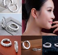 Wholesale Women Fashion Jewelry White Topaz Rhinestone Crystal Silver Plated Stud Earrings