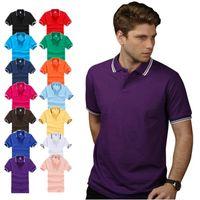 Wholesale Men s Business Poloshirts g CVC Fabric Short Sleeve Men Classic Polos Contrast Color Double Lines on Collar amp Sleeve Edge