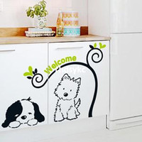 background dogs - Wall stickers home decoration Three generations of wall stickers bedroom door children s room bedside background cartoon cute dog