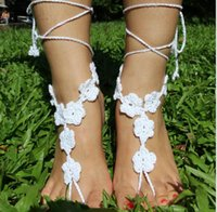 decoration jewelry colors - White Floral crochet yoga Barefoot Sandals Wedding beach Barefoot Nude Shoes Foot Decoration Yoga Foot Jewelry Bridal anklet colors