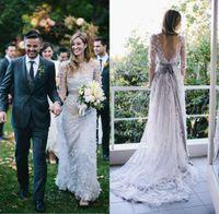 elie saab wedding dresses - 2015 Custom Spring A Line Bohemian Wedding Dress Ivory Applique Backless Modest Elie Saab Wedding Dresses with Long Sleeves Pregnant Gowns