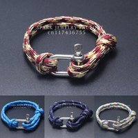 beach bracelets men - New Arrival Fashion Jewelry Beach Sport Camping Paracord Survival Bracelet Men with Stainless Steel Shackle Buckle