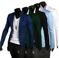 Acheter Costumes conception hommes-2015 Nouveau design de style Hommes de mode d'automne Blazer homme coton Veste de pantalons slim fit Blazer d'homme classique Blazer d'affaires pour homme Livraison gratuite