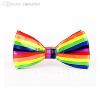 al por mayor pajarita arco iris-Artículo de los artículos gay LGBT del orgullo gay de la pajarita del arco iris de Wholesale-6pcs / lot