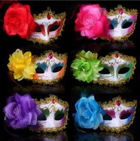 Wholesale Halloween masks WOMENS Lace eye mask gorgeous masquerade mask party mask flower Venetian Half face diamond masks princess HM68