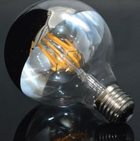 bulbs and lighting - Edison Bulb Half Clear Glass and Half Sliver Color Glass G95 LED Filament Bulb W E27 V V Dimmable LED Bulb Light