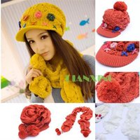 Wholesale Lady Girls Woolly Knitted Hat Pom Flower Emb Cap Ball Bobbles Scarf Set Warm