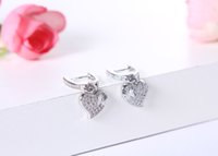 Wholesale 2016 new hot Sterling Silver Earrings with zircon crystal micro Austria women love fashion jewelry