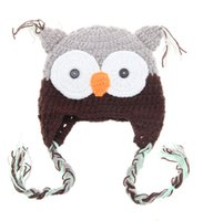 Wholesale 12 Styles Toddler Owl Crochet Knit Woolly EarFlap Hat Baby Handmade crochet Hat childrens handmade owl Knitted hat