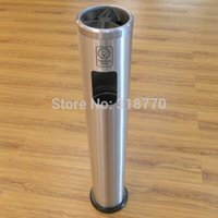 Wholesale small standing waste bin with cigarette ashtray YB HW901LY aluminium for public areas