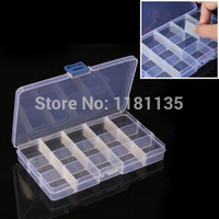 plastic storage container - Plastic Storage Box Compartment Clear Nail Art Tips Rhinestone Earring Jewelry Glitter Detachable Container