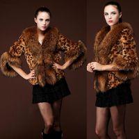fox fur jacket - 2014 Women Vintage Leopard Print Parka Overcoat Faux Fox Fur Jacket Coat S XXL