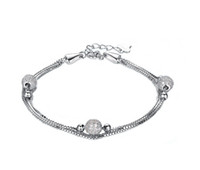 Wholesale Fine Jewelry Fashion Silver Bead Bracelet Guaranteed Solid Sterling Silver Bracelet Pave Setting Zircons Ball YH4223