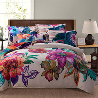 Wholesale bright purple blue colored painting flower print bedding set queen king size for girls home decor Egyptian bed linen cover sheet