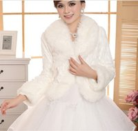 Wholesale Free Size Ivory Wedding Accessories Faux Fur winter wedding coat Wrap Shrug Bolero Bridal Shawl