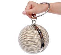 achat en gros de boules de strass en métal-Vintage Designer mariage nuptiale femmes Fashion Crystal strass perles Pearl Ball soir embrayage sacs à main sac à main portefeuille Metal Hard Box