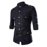 Wholesale Unique Design Black Man Shirt Gold Button Epaulet Chris Brown Army Style Shirt Three Quarter Stand Collar Fashion Men Clothes