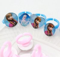 Wholesale 4 colors Plastic and glass bead Rings Elastic ring frozen Anna Elsa Olaf Rings Fashion galaxy Accessories girls Jewelry Frozen A