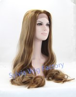 Wholesale Fashion nature look Body wave blonde wigs premium Long natural wave heat friendly synthetic lace front wig heat resistant fiber in stock