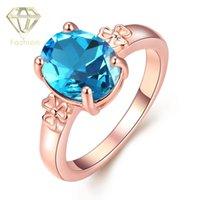 Aigue-marine Anneaux Design De Mode Rose Or Plaqué Ovale En Forme Avec Saphir Bleu Verre Cristal Bijoux Bijoux Best Friends Gift