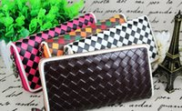 Wholesale 5PCS Lady Fahion Hand woven Colorful Wallet Lady Holders Lady Pu Leather Wallets Women Clutch Bag Lady Handbags Coin Purse