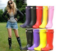 best spring water brand - 2016 Best Selling Woman Rain Boots Top Quality Rainboots Wellies Boots Women High Boots Waterproof H brand Boots Rubber outdoor water shoes