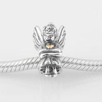 Wholesale Fits Pandora Original Charms Bracelet Sterling Silver Bead Angle Pattern European Charm DIY Jewelry Findings