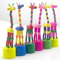 Wholesale Educational Wooden Dancing Giraffe Toys Rocking Animal Cartoon Swing Giraffe Wood Toy for Children