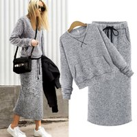 Wholesale Europe and the United States Fashion Brand Two Pieces Top Skirts New Arrival Long Sleeve O Neck Knitted Sweatshirt Suits Sweater Sets