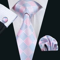 Lazo para hombre Conjunto azul rosado de la tela escocesa de seda jacquard tejida Hankerchief gemelos conjunto de seda de negocios del trabajo formal corbata N-1028