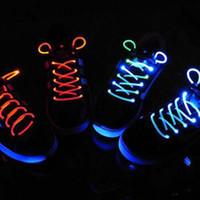 Cheap 1 Pair Multicolor LED Shoelaces Flash Party Disco Shoelace Shoe Laces Shoe Strings Shoe Styling Accessories