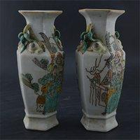 antique porcelain vases pair - Tongzhi pastels hand painted figures Guan antique vase one pair of ancient porcelain collection flea home Decoration