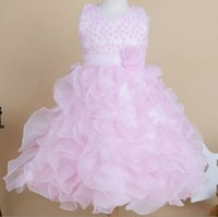 Wholesale Clothing For Kid Girls - Flower Girls Dress For 2015 %100 High Quality Actual Sleeveless Organza Wedding Party Kids Princess Dresses Children Clothes AB2783 Retail