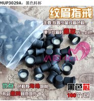 Wholesale 100PCS BAG Black with White Permanent Makeup Disposable Finger Tattoo Ring Ink Holders Caps Supply