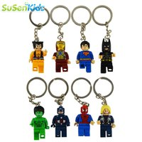 Wholesale 8pcs movie Super Hero Avenger Keychain Kid Baby Toy Mini Figure Building Blocks Sets Model Toys Minifigures Brick