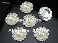 Wholesale EMS mm Pearl Rhinestone Buttons Sew On Czech Crystal Rhinestone Button On Sliver Accessories