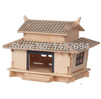 ancient puzzle games - ancient old style house model d puzzle parent child game model DIY wooden jigsaw puzzle Christmas gift toys
