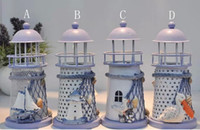 iron candlestick - Fashion Hot Mediterranean style lighthouse wrought iron Candlestick Candle holder Home decoration