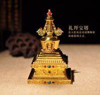 Wholesale The Tibetan Buddhist stupa supplies copper Bodhi pagoda inch gold fine workmanship Buddha tower can install reservoir