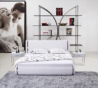 bedroom furniture and beds - Modern White Leather High Back Soft Bed Stainless steel Decoration Smart and Fashion Design US Style Bedroom Furniture B63