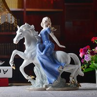 ceramics and pottery - 2016 New Chinese Pottery Jingdezhen ceramic art and Craft Euro style Xiyang girl driving horse for Home Decoration
