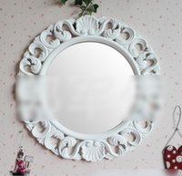wood mirror - 2015 European Vintage Bedroom Framed Mirror Elliptical Bathroom Emboss Flower Toilet Glass Mirrors Home Decor Barber Shop K5454