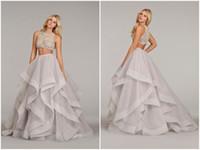 two piece wedding dress - Two Piece Purple Wedding Dress See Through Corset Wedding Gown Sheer Beading Ruffles Lavender Bridal Dress Hayley Paige Spring Modest