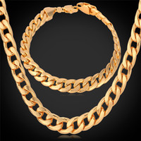 Bracelet & Necklace asian rose - U7 Classic Cuban Link Chain Necklace Bracelet Set K Real Gold Rose Gold Platinum Plated Fashion Men Jewelry Accessories Perfect Gift