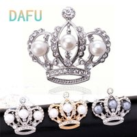 austrian crystal brooch - DAFU New Women k Gold Filled Party Gift Austrian White Pearl Crown Crystal Brooches Jewelry